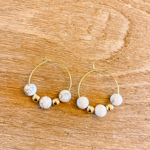 Howlite and Gold Hoops