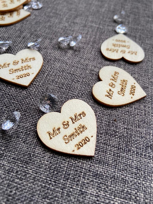 Personalised Wooden Hearts withdiamanté's