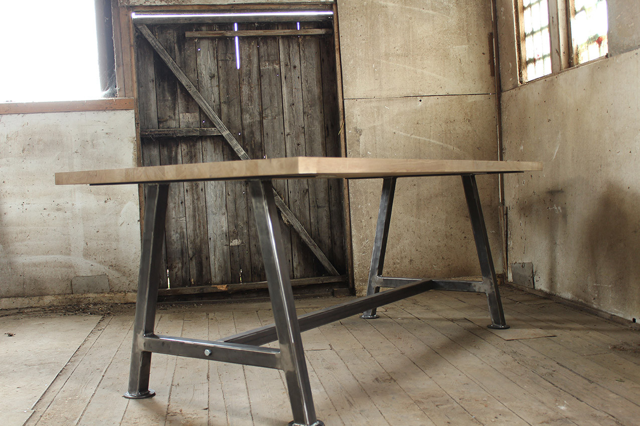 A Frame Side On With Solid Oak table top