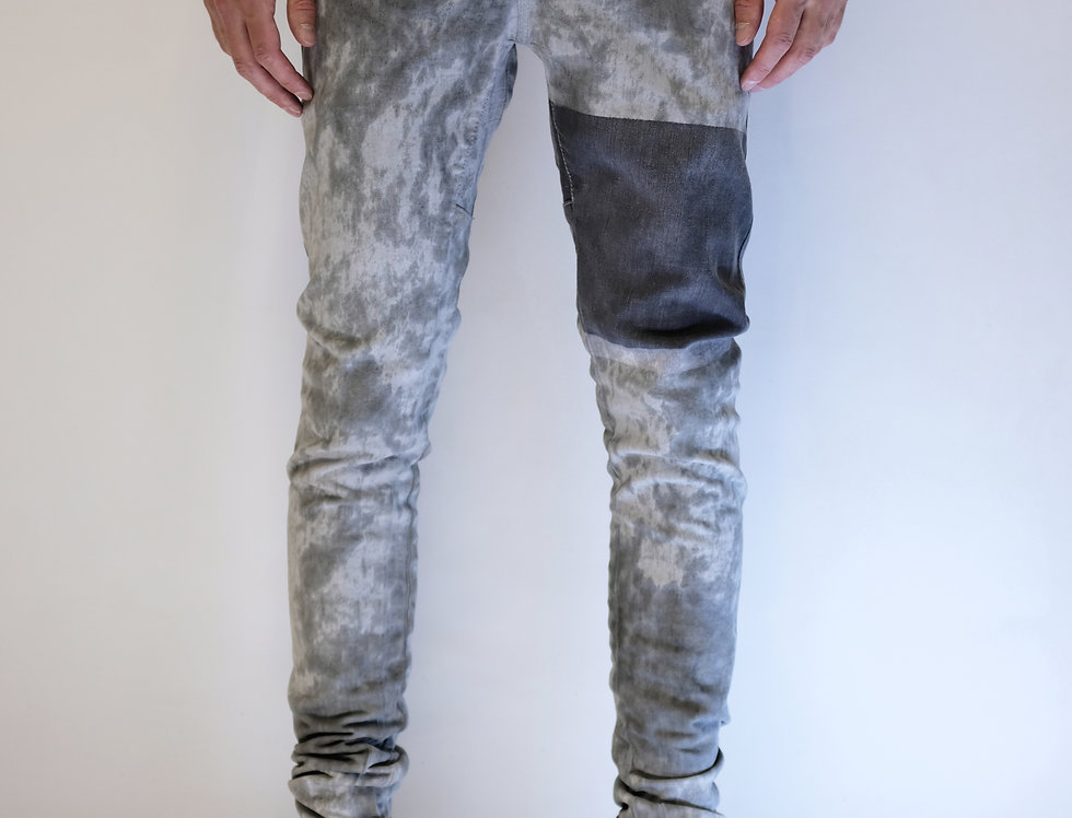 'TIGHT' JEANS | LIGHTGREY DIRT DYE \ HANDPAINTED STRIPES