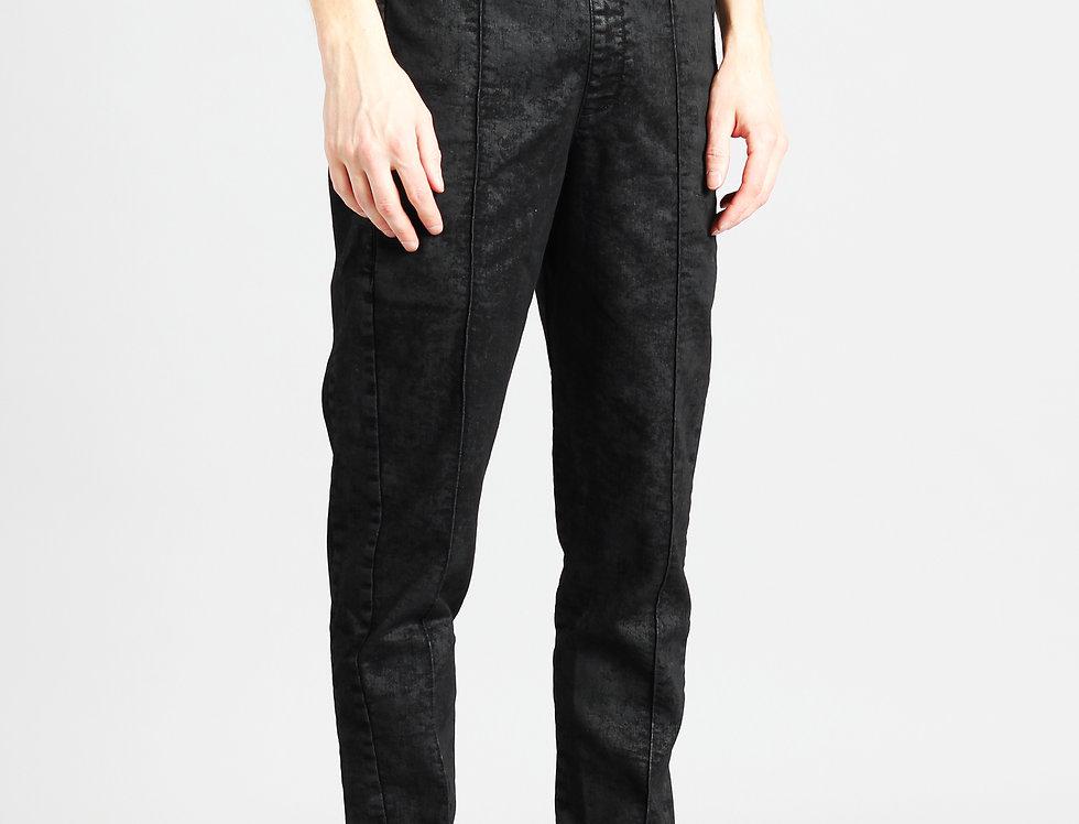 'TRACK' PANTS   BLACK IRREGULAR COATED