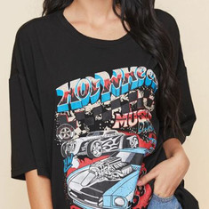 Racing Car & Letter Graphic Women's Oversized Tee