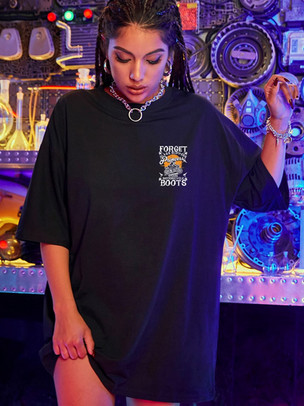 Forget Glass Slippers - Motorcycle Print Drop Shoulder Oversized Tee