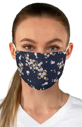 Daisies and Rabbits in Blue Face Mask