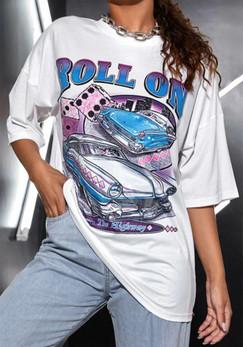 Roll On the Highway Print Drop Shoulder