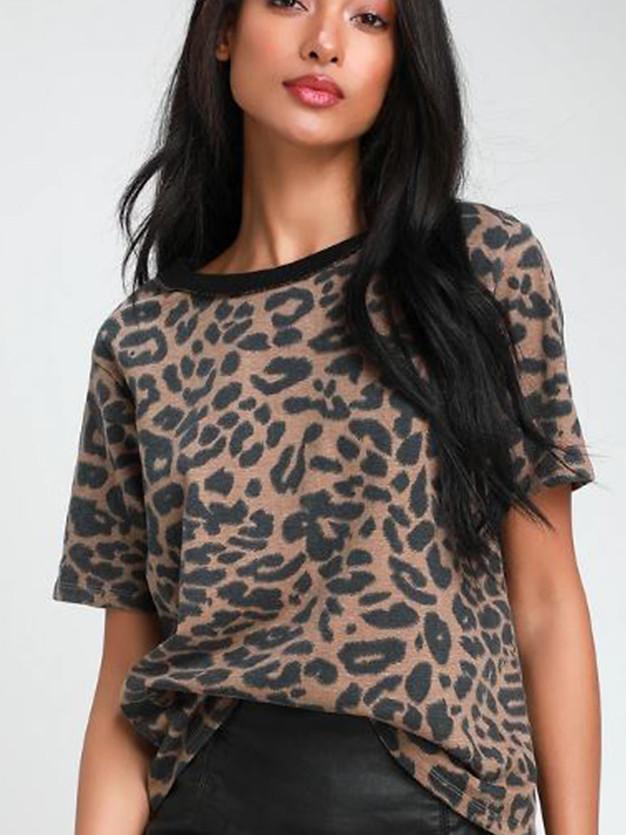 A Little Wild Brown Leopard Print Women'