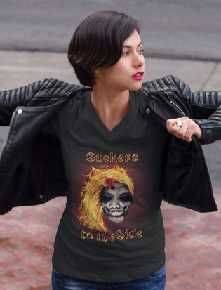 Suckers to the Side women's v-neck tee