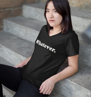 Whatever women's v-neck tee shirt.jpg