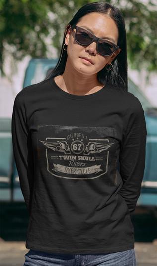 Twin Skulls-Fly Girl long sleeve cotton tee shirt
