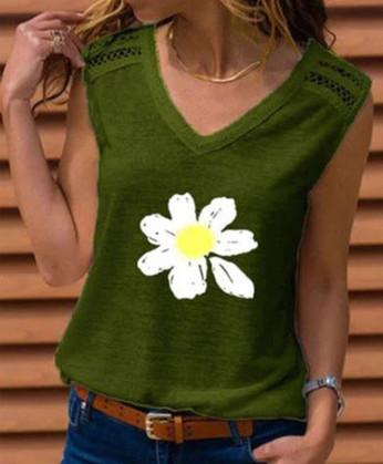 Women's Flower Print V-Neck Sleeveless T