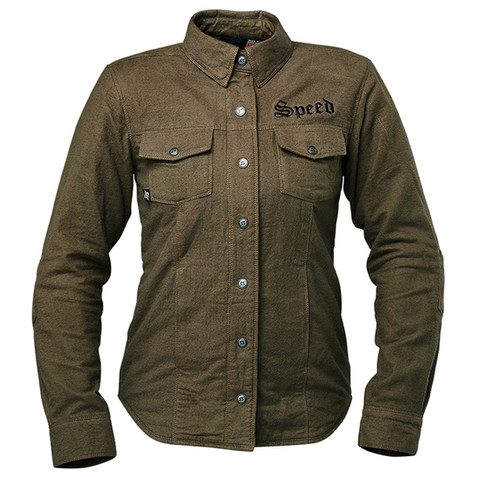 Speed and Strength Women's Brat Armored Flannel Shirt in Olive.