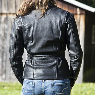 Fox Creek women's Fitted Classic Leather Jacket - rear