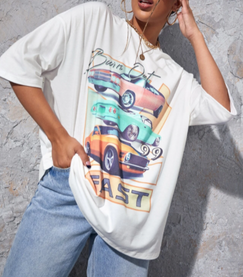 Burn Out Sports Cars Oversize Tee