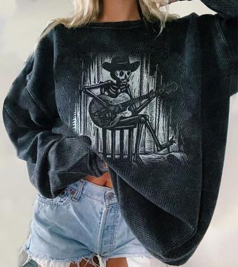 Skeleton Guitar Print Women's Oversize Sweatshirt