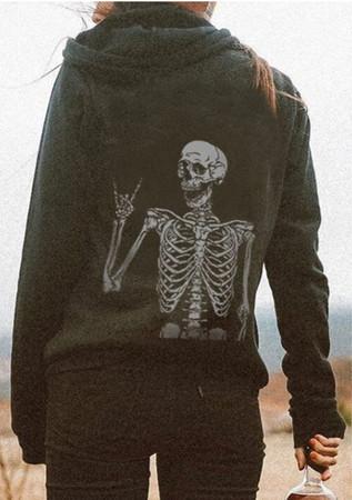 Happy Skeleton Printed Casual Comfortable Hoodie