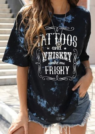 Tattoos and Whiskey Drop Shoulder oversize long cotton tee