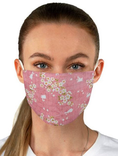 Daisies and Rabbits in Pink Face Mask