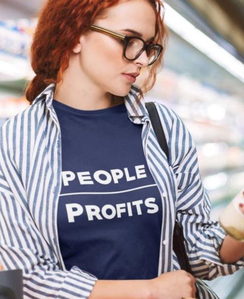 People Over Profits women's tee