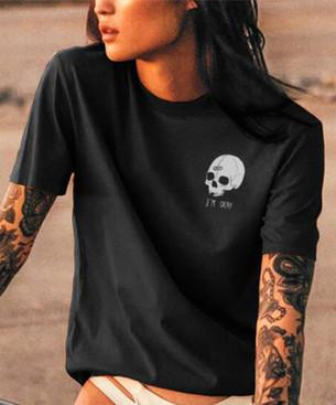 I'm Okay Skull Print women's cotton tee