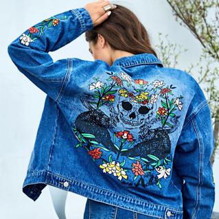 Button Front Floral & Skull Denim Jacket - back