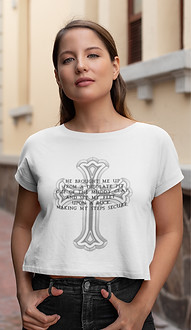 Psalm 40:2 Set My Feet ladies slim fit crop tee