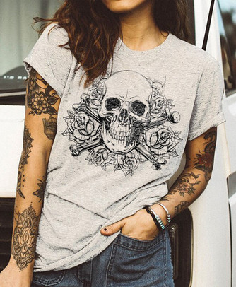 Skull and Flowers Women's Comfortable Fit Tee