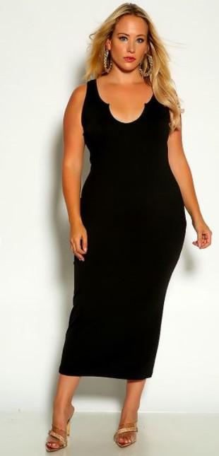 Black Sleeveless Ribbed Midi Plus Size Dress