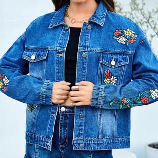 Button Front Floral & Skull Denim Jacket - front