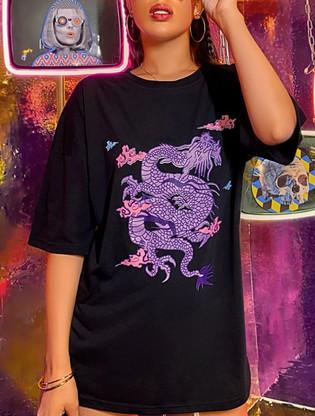 Dragon Print Drop Shoulder oversize tee.
