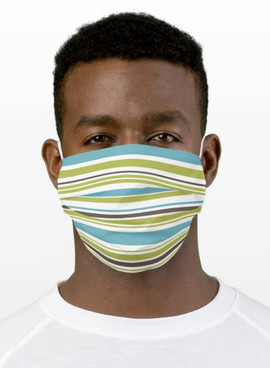 Blue and Green Stripes Cloth Face Mask