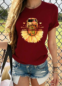 Flower Car Print O-Neck women's t-shirt.