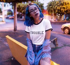 Trouble unisex ringer tee