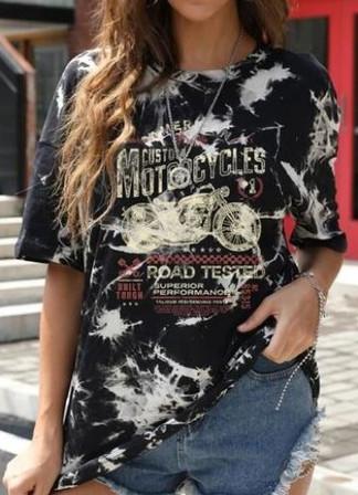 Custom Motorcycles oversize longline cotton tee