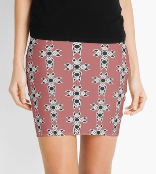 Celtic Christian Cross Mini Pencil Skirt