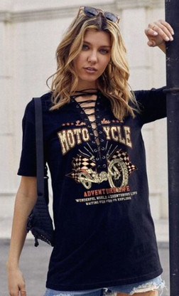 Motorcycle Lace-Up Ladies Long Tee