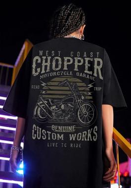 Chopper Motorcycle oversize long cotton tee - back