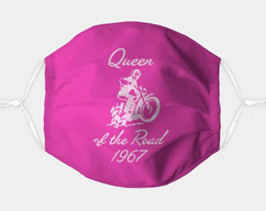 Queen of the Road in white - adjustable face mask