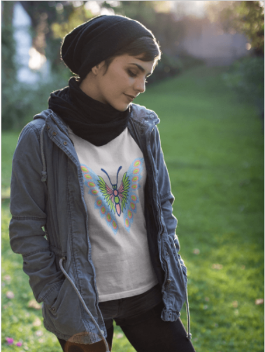 Blue and Pink Butterfly women's tee