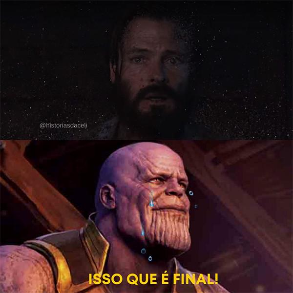 Thanos e Jonas em Meme. Fonte imagens: Dark Netflix e Marvel. Autoria: Michelle Martins