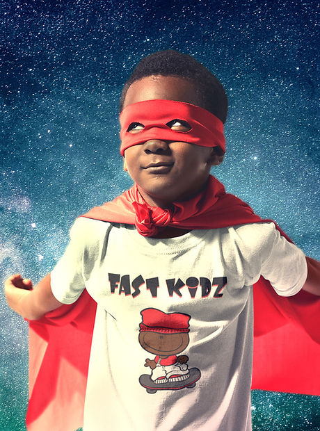 Super Hero Kid's Round Neck T-Shirt Mockup Wearing a Red Cape - space superhero 2.jpg