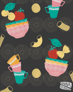 Pasta and Burano lace ware