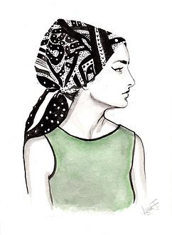 Lady with Hermès scarf