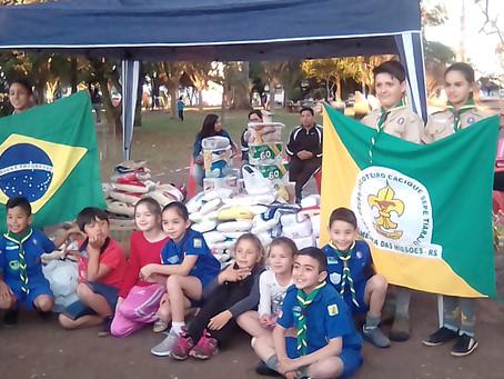 Grupo Escoteiro Sepé Tiaraju recolhe 1 tonelada de alimentos