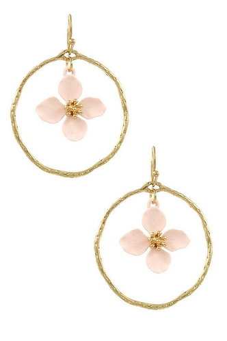 Matte Flower Metal Ring Drop Earrings