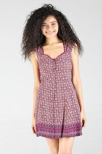 Maroon Purple Printed Dress