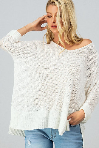 Dolman Sleeve Solid Casual Sweater Top With Slit Side