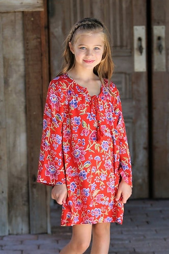 Kids Floral Red Dress
