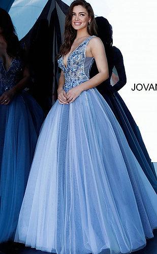 Blue Floral Embellished Ballgown