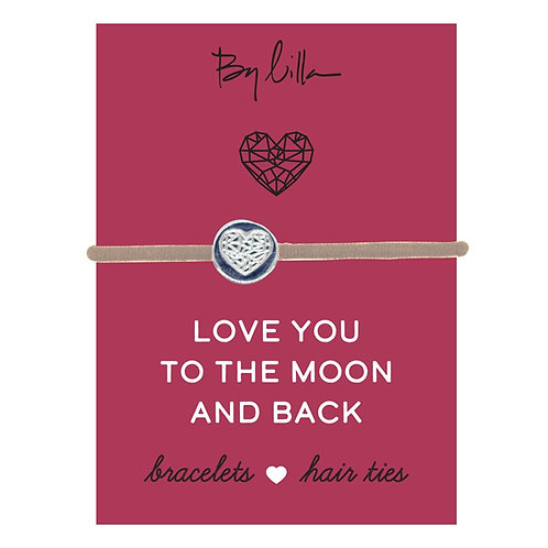 Love You To The Moon & Back Bracelet/Hair Tie