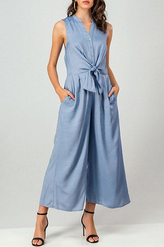 Tie Front Collarless Sleeveless Wide Leg Jumpsuit